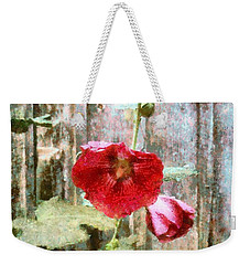 Weekender Tote Bag featuring the photograph Hollyhock On Weathered Wood - Remember The Days by Janine Riley