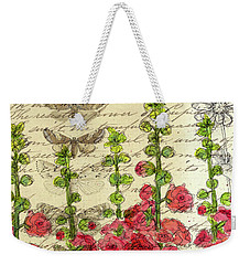 Weekender Tote Bag featuring the drawing Hollyhocks And Butterflies  by Cathie Richardson