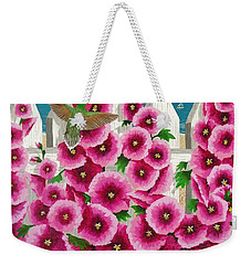 Hollyhocks And Humming Birds Weekender Tote Bag