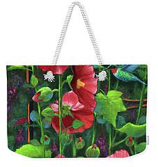 Hollyhocks And Hummingbird Weekender Tote Bag