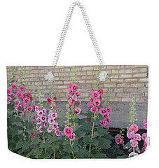Hollyhocks Weekender Tote Bag by Cynthia Powell