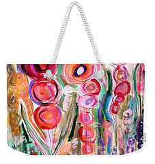 Hollyhocks Of The Garden Weekender Tote Bag