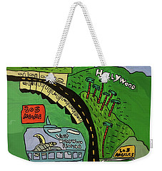 Weekender Tote Bag featuring the painting Hollywood Watertower by Artists With Autism Inc