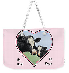 Holstein Cow And Calf Pink Heart Vegan Weekender Tote Bag by Crista Forest