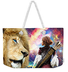 Weekender Tote Bag featuring the digital art Holy Calling by Dolores Develde