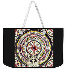 Weekender Tote Bag featuring the painting Holy Cat by Kym Nicolas