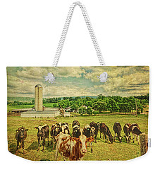 Weekender Tote Bag featuring the photograph Holy Cows by Lewis Mann