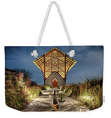 Weekender Tote Bag featuring the photograph Holy Family Shrine by Susan Rissi Tregoning