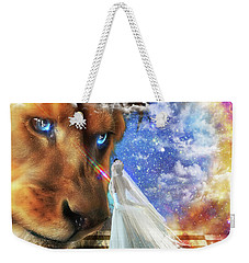 Weekender Tote Bag featuring the digital art  Divine Perspective by Dolores Develde