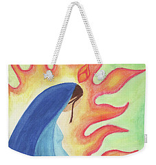 Weekender Tote Bag featuring the drawing Holy Mary by Betsy Hackett