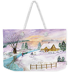 Weekender Tote Bag featuring the painting Home For Christmas by Melly Terpening