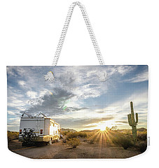 Weekender Tote Bag featuring the photograph Home In The Desert by Margaret Pitcher