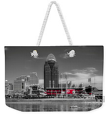 Weekender Tote Bag featuring the photograph Home Of The Cincinnati Reds by Mel Steinhauer