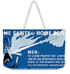 Weekender Tote Bag featuring the painting Home Safety Is Home Defense by War Is Hell Store
