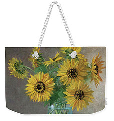 Homegrown - Sunflowers In A Mason Jar With Gardening Gloves And Blue Cream Pitcher Weekender Tote Bag