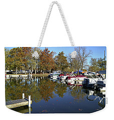 Hometown Marina In Autumn Weekender Tote Bag