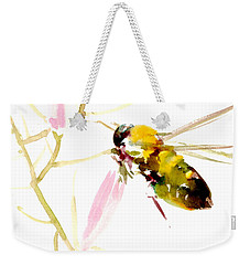 Honey Bee And Pink Flower Weekender Tote Bag by Suren Nersisyan