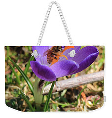 Weekender Tote Bag featuring the photograph Honey Bee On Crocus  by Rick Morgan