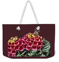 Honey Bee On Flower Weekender Tote Bag by Daniel Hebard