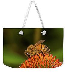 Honey Bee On Flower Three Weekender Tote Bag by Randy Steele