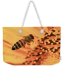 Weekender Tote Bag featuring the photograph Honeybee And Sunflower by Chris Berry