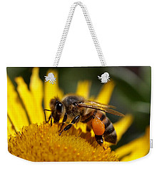 Weekender Tote Bag featuring the photograph Honeybee At Work by Rona Black