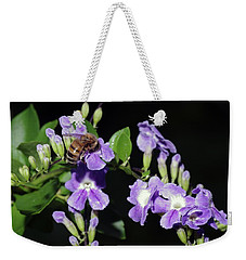 Weekender Tote Bag featuring the photograph Honeybee On Golden Dewdrop II by Richard Rizzo