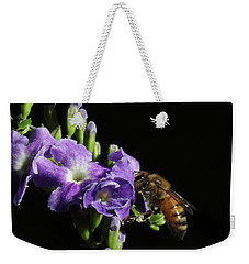 Weekender Tote Bag featuring the photograph Honeybee On Golden Dewdrop by Richard Rizzo