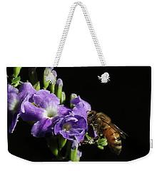 Honeybee On Golden Dewdrop Weekender Tote Bag by Richard Rizzo