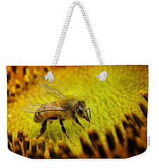 Weekender Tote Bag featuring the photograph Honeybee On Sunflower by Chris Berry