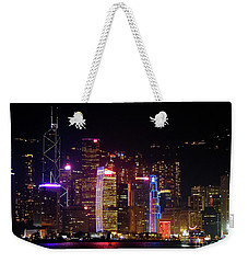 Hong Kong At Night Weekender Tote Bag by Lynn Bolt