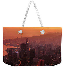 Weekender Tote Bag featuring the photograph Hong Kong City View From Victoria Peak by Pradeep Raja Prints