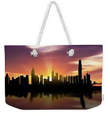 Hong Kong Skyline Sunset Chhk22 Weekender Tote Bag by Aged Pixel