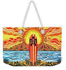 Weekender Tote Bag featuring the painting Honu Surf by Debbie Chamberlin