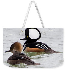 Hooded Mergansers Weekender Tote Bag by Ricky L Jones