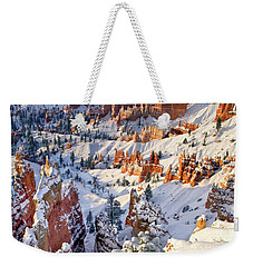 Weekender Tote Bag featuring the photograph Hoodoos And Fir Tree In Winter Bryce Canyon Np Utah by Dave Welling