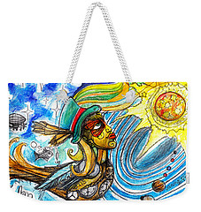 Weekender Tote Bag featuring the painting Hooked By The Worm by Genevieve Esson