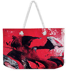 Hope - Red Black And White Abstract Art Painting Weekender Tote Bag