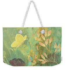 Weekender Tote Bag featuring the painting Hopeful Golden Wings by Robin Maria Pedrero