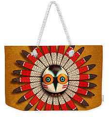 Weekender Tote Bag featuring the digital art Hopi Owl Mask by John Wills