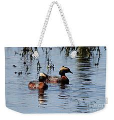Horned Grebe Couple Weekender Tote Bag