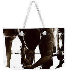 Horse And Farrier Weekender Tote Bag by Angela Rath