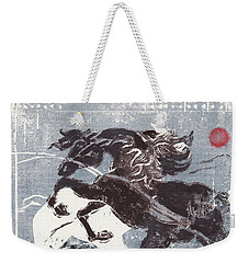 Horse And Red Sun Weekender Tote Bag by Mary Armstrong