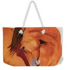 Weekender Tote Bag featuring the painting Horse Curves by Janet Greer Sammons