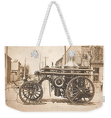 Weekender Tote Bag featuring the photograph Horse Drawn Fire Engine 1910 by Unknown