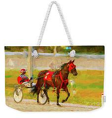 Horse, Harness And Jockey Weekender Tote Bag by Les Palenik