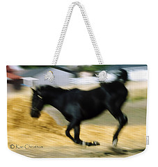 Weekender Tote Bag featuring the photograph Horse In Action by Kae Cheatham