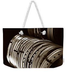 Horse Shoes In Sepia Weekender Tote Bag by Angela Rath