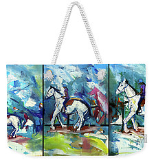 Weekender Tote Bag featuring the painting Horse Three by John Jr Gholson