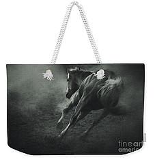 Horse Trotting In Morning Fog Weekender Tote Bag